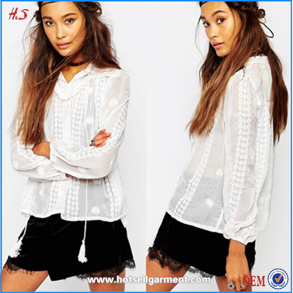 Chinese clothing manufacturers economical blank cotton lace elegant long sleeve blouse women ladies