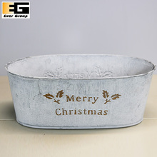 Christmas Flower Pot or Metal Serving Tray