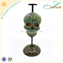 China factory metal decor candelabra Halloween skull candle holder
