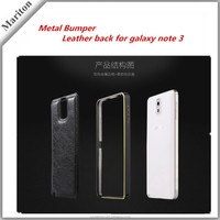 Cell Phone Cover Protective Cases Genuine Real Leather Metal Aluminum Bumper Frame for Samsung Galaxy Note 3