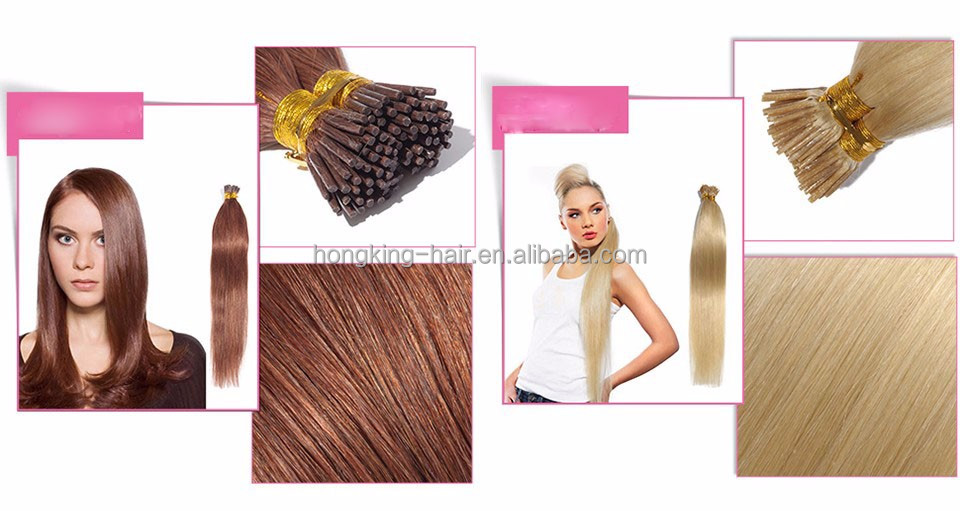 Wholesale 100% Unprocessed virgin Human Hair Extensions stick tip/ I tip/ micro ring hair Brazilian Remy Hair