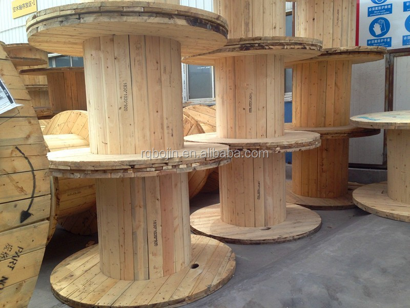 Empty industrial wooden power cable rope spool