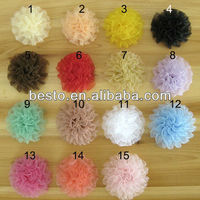 CF0739 Pretty shabby chic wholesale organza flower for baby clothing
