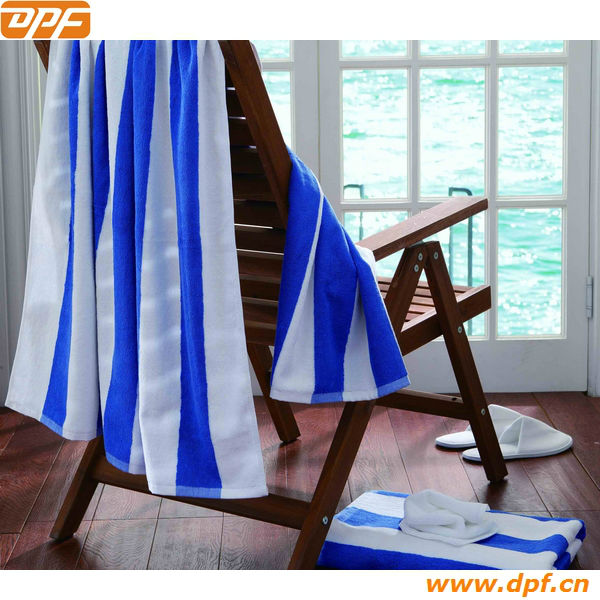 Blue and white stripe 100%cotton beach towel pool towel wholesale
