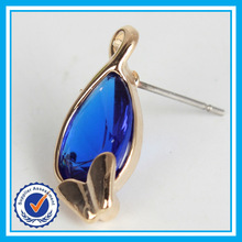 New Elegant Big Sapphire Blue Zircon Crystal Stud Earrings for Women Platinum Plated Gold Earring