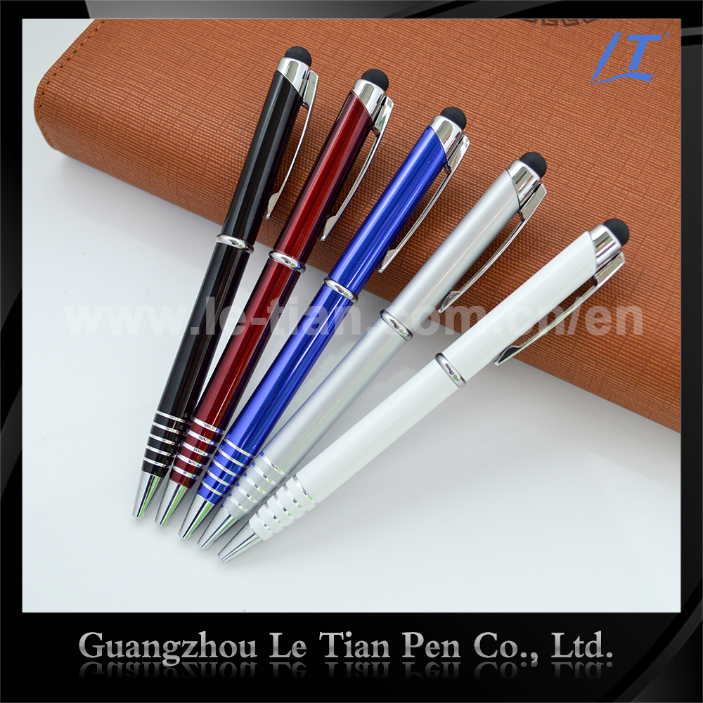 Custom logo glitter phone touch pen stylus Aluminum metal pen with stylus