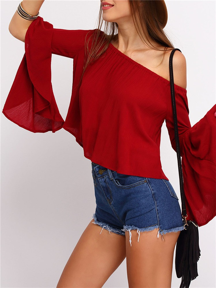Summer Casual red boat neck off shoulder loose pattern Women Burgundy Bell Sleeve Blouses Tops