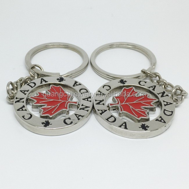 Custom design Canada Maple Leaf tourism key ring keychain