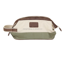 Canvas Wash Bag With Leather Trim, Customized Logo Wash Bag