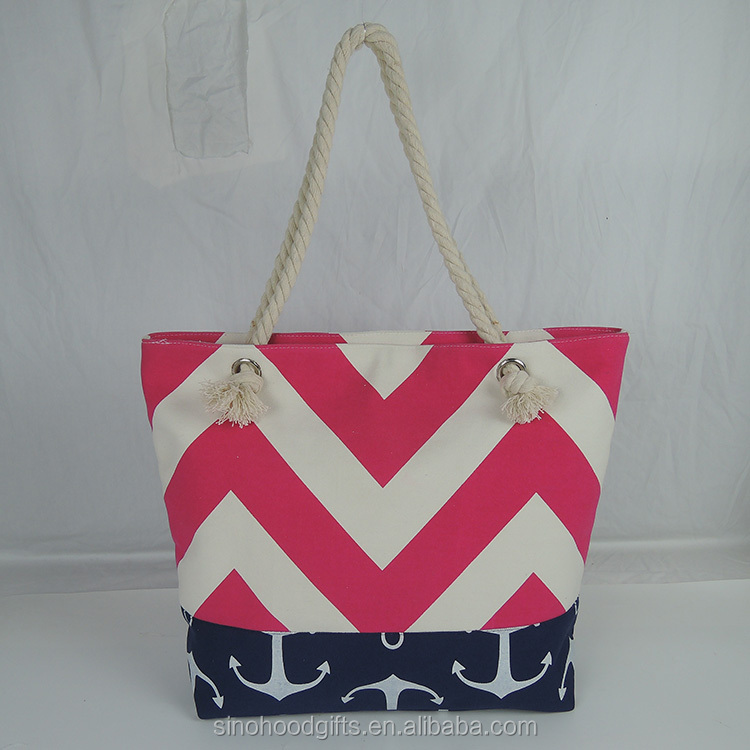 High Quality China Factory Supply Directly Canvas Cotton custom beach bag With Blue Stripes