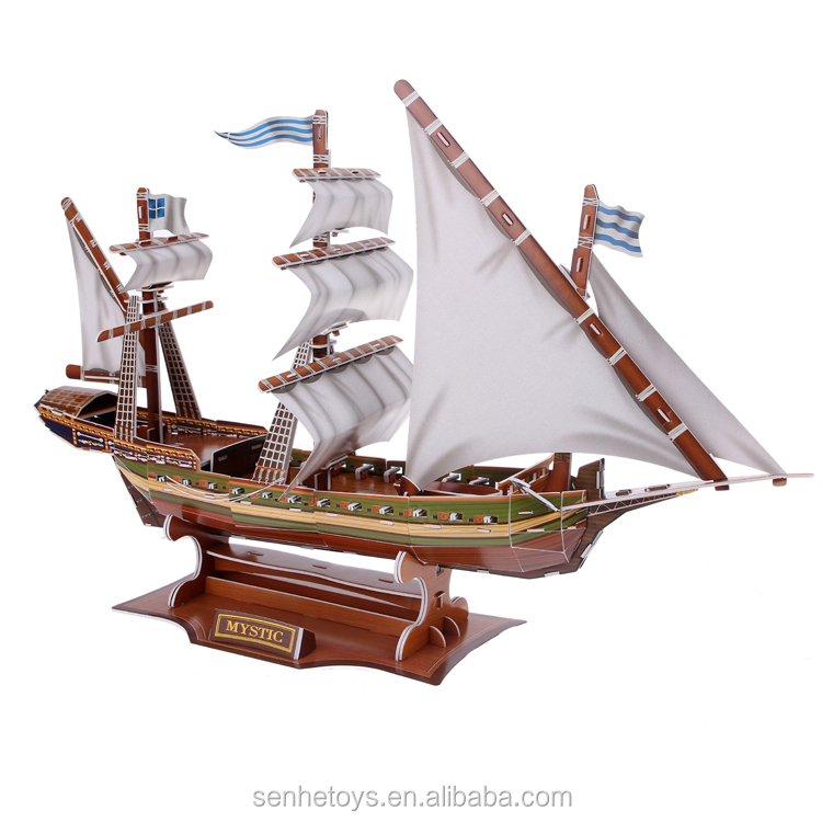 2015 DIY educational 3D puzz famous Pirate ship puzzles for children toys