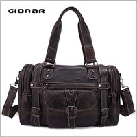 wholesaler Leather italian brand man tote bag with pockets