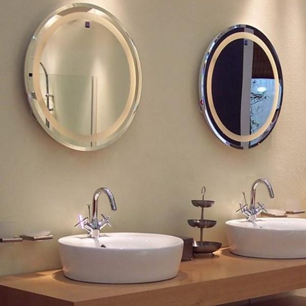 Rustique et occidental salle de bains lighted high sans cadre ovale miroir mural mirroir de for Miroir mural sans cadre