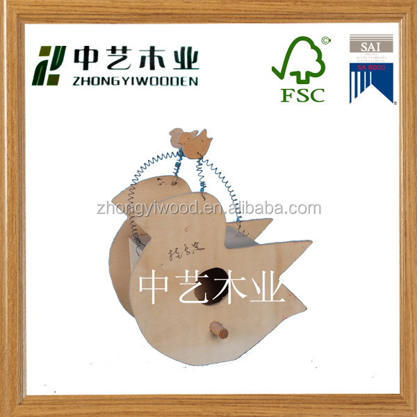 New design unfinished handmade decorative bird shaped wooden bird nest