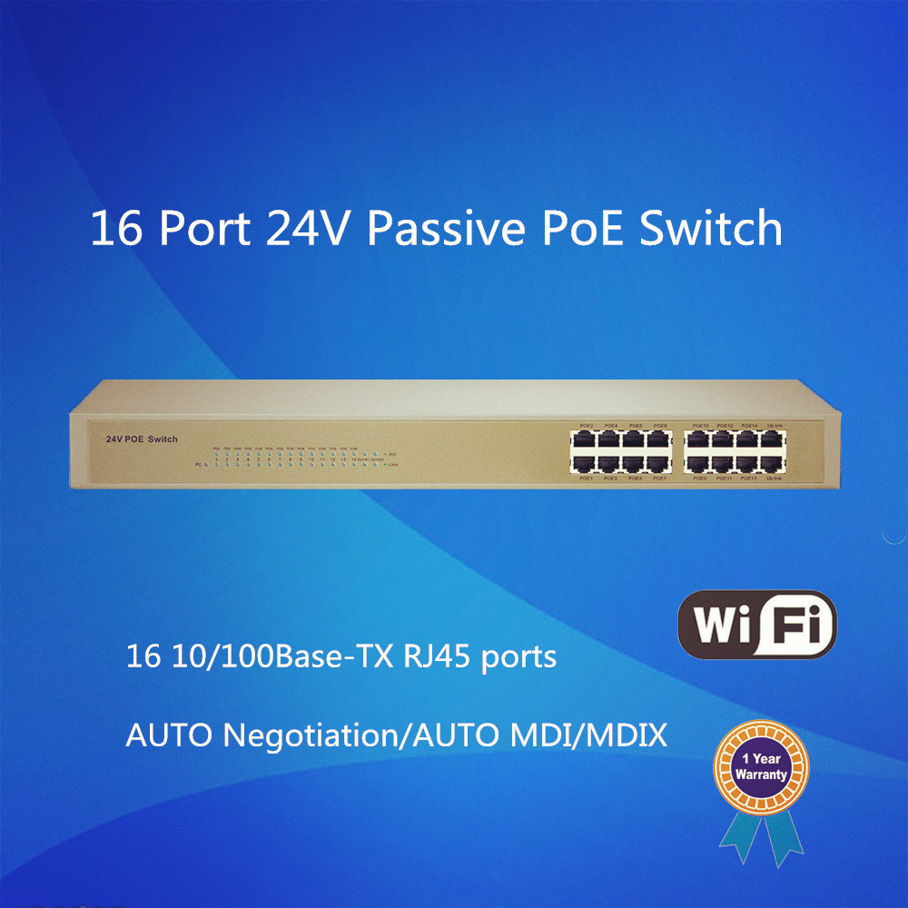 16 Port 24V Passive PoE Power Over Ethernet Switch for IP Camera