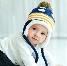 South Korea edition of winter new children's hat baby penguin ear cap winter warm color caps wholesale hat and cat hat