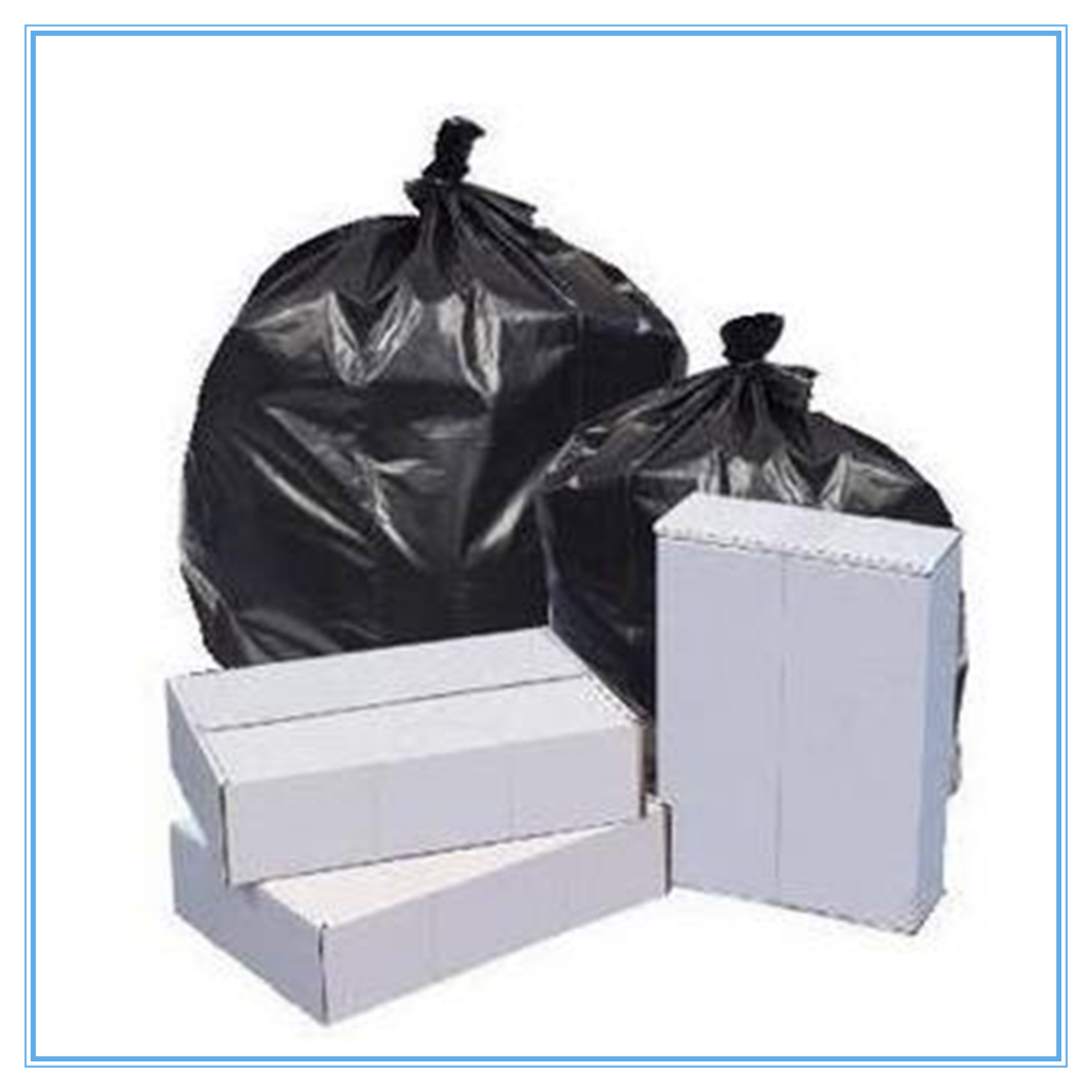 "Pitt Plastics 38"" x 58"" Black Low Density 60 Gallon Trash Can Liners - Black Can Liners - Low Density Can Liners"