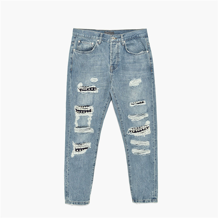 Blue Italian Torn Ripped Jeans For Men