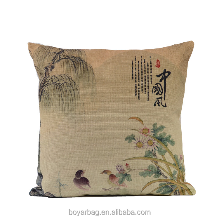 Chinese Style Painting Linen Silk Pillow Case