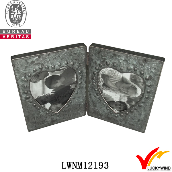 double heart fold galvanized wholesale photo frames