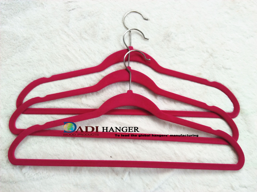 Red colored clothes flocking hanger