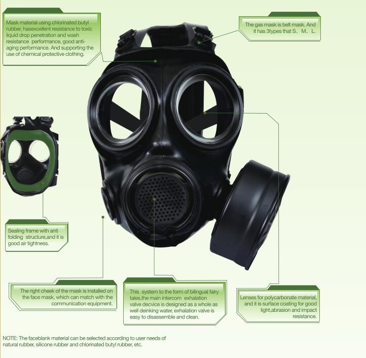 MF22 type chlrinated butyl rubber face gas mask