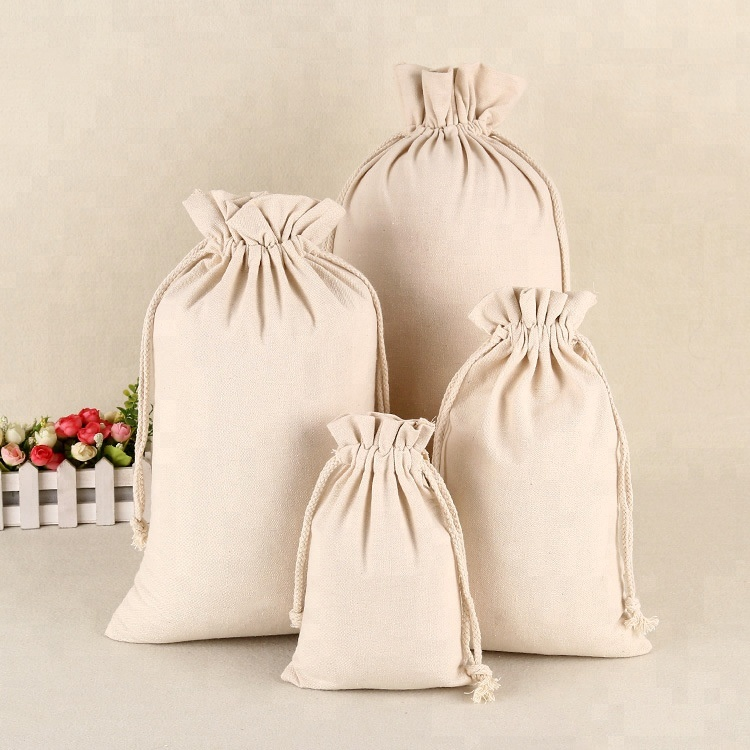 Drawstring Muslin Calico Bags Natural Color Blank Wholesale