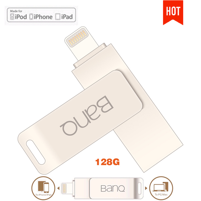 New BanQ A6S OTG USB Flash Drives Pen Drive 128G Capacity Expansion For iPhone iPad iPod APPLE MFi  JetDrive Go 500