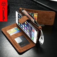 Caseme mobile phone case for iphone 6splus design 2 in 1 hard pc back cover+pu leather wallet multifunction cover