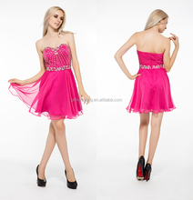 Red short open back beaded pink short prom dress knee length cocktail dress