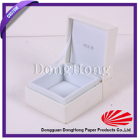 Hinged luxury leather jewelry gift box with silver logo