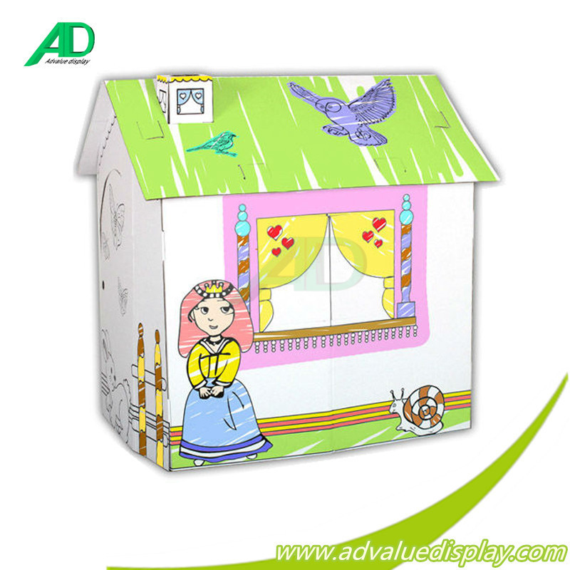 Indoor Corrugated Paintable paper play house folding Cardboard Playhouse for Kids