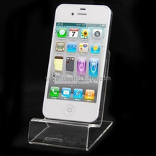 Clear acrylic table top mobile phone holder, phone display