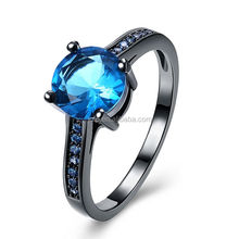 2018 New Arrival High Quality Blue Zircon Stone Black Gold Plated Sqaure Sapphire Rings