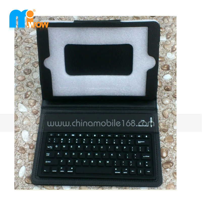 Hot sale leather case bluetooth keyboard with stand for Ipad mini