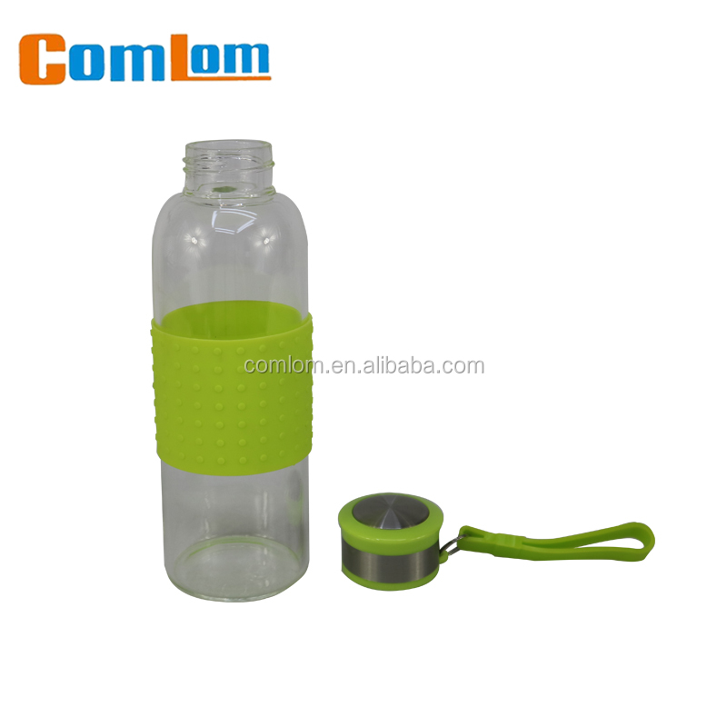CL1C-GATZ8011 Comlom Eco-friendly Silicone Glass Water Bottle /Silicone Rubber Bottle Sleeve