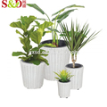 Hot sale outdoor white plastic garden flower pots planters