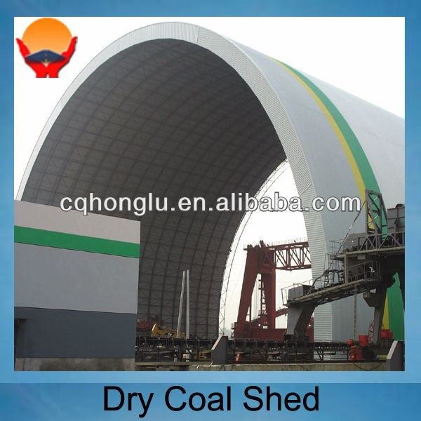 Steel structure dry coal shed building