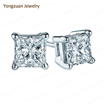China Jewelry Accessories Wholesale Custom 18K Gold Real Princess Cut Diamond White Gold Unisex Engagement Earrings