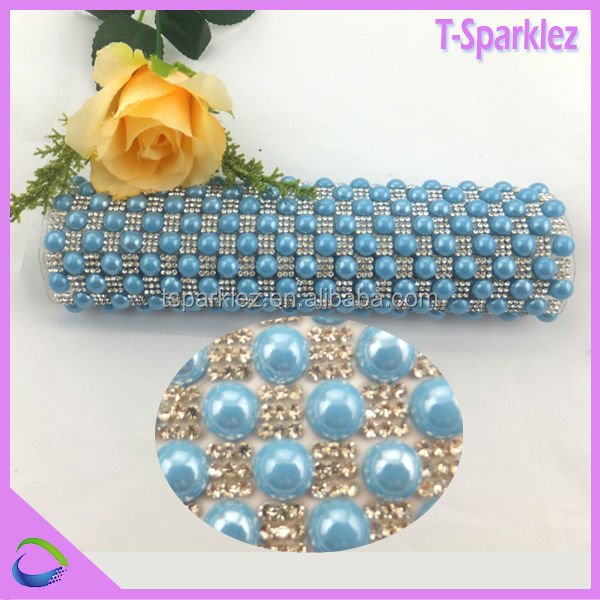 Wholesale pearl rhinestone mesh trimming