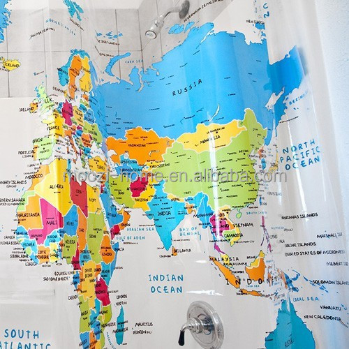 2014 hot selling item world map design shower curtain PVC bath curtains great wall