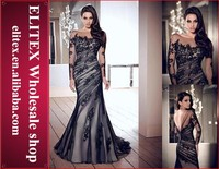 Wholesale black lace long sleeve fishtail evening dress 2015 ED02