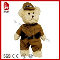 Unique Design Dressing Policeman Teddy Bear Soft Stuffed Plush Collection Toy
