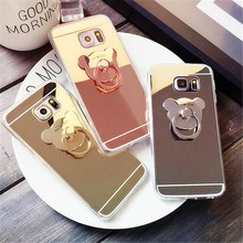 Cartoon Bear Mirror Case Clear TPU Ring Phone Cases Cover For For Samsung Galaxy S5 S6 S6 Edge S7 S7 Edge Note3/4/5