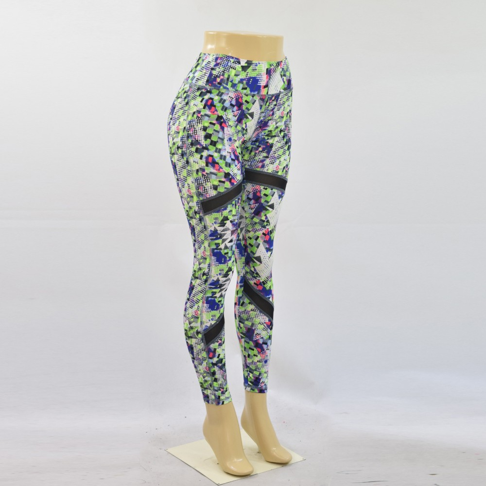 Hot Sexy Women's mesh insert tight printed yoga slim long pants running legging