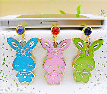 Chic perforating anti dust headphone plug cute rabbit pendant cellphone plugs for girls