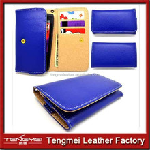 RETRO Royal Blue Faux PU Leather Wallet Pouch Cover Case For HTC desire case