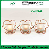 Ball sharp round iron wire wedding metal candle holder with glass tube CH-31802