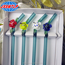 Custom hand made Straight glass drinking straws with cute glass fish figurine Ornaments