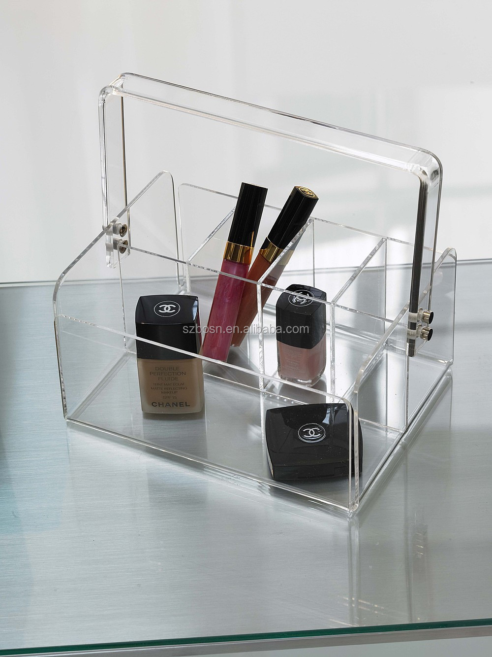 5-Section Acrylic Tote Bin Makeup Caddy Box